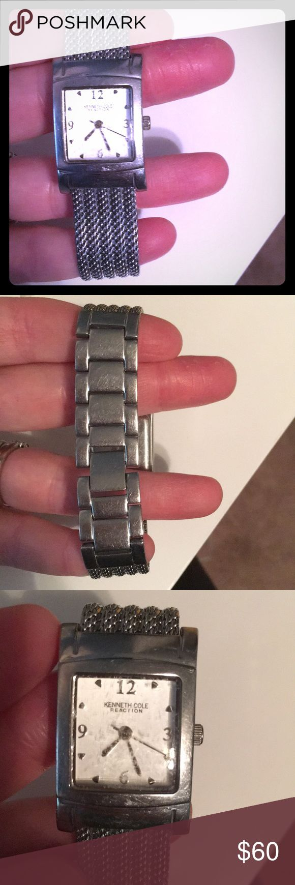 Kennth Cole Reaction womens silver watch Square face, very light weight. Perfect for smaller wrists. Definitely has some wear to it, could use a new glass face piece and needs new battery. But both are simple and cheap fixes. I have the extra links and instruction booklet Kenneth Cole Reaction Accessories Watches