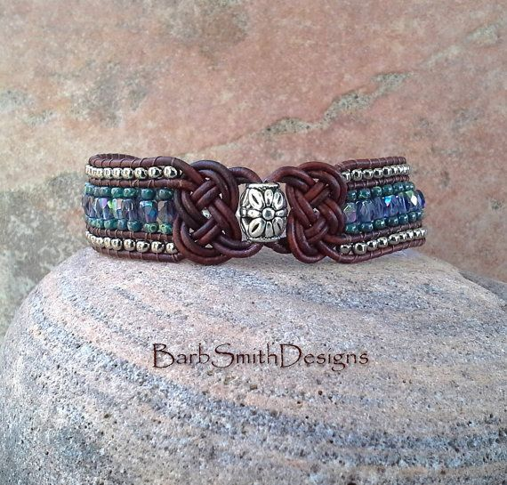 Blue Leather Beaded Cuff Bracelet 3-Row  The by BarbSmithDesigns