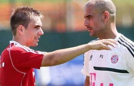 Philipp Lahm and Pep Guardiola Photo