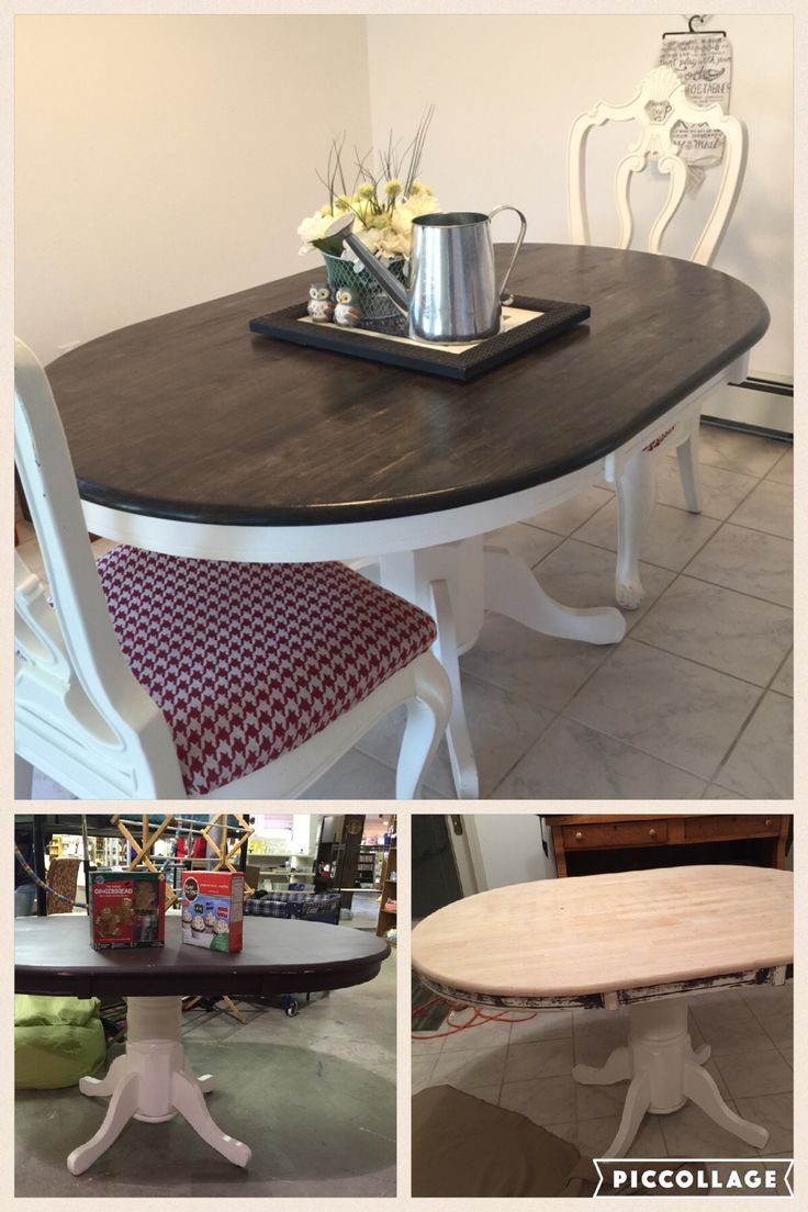 Farmhouse Oval Dining Table: $10 thrift store table refinished to fit my in-progress #FarmHouse dining room.