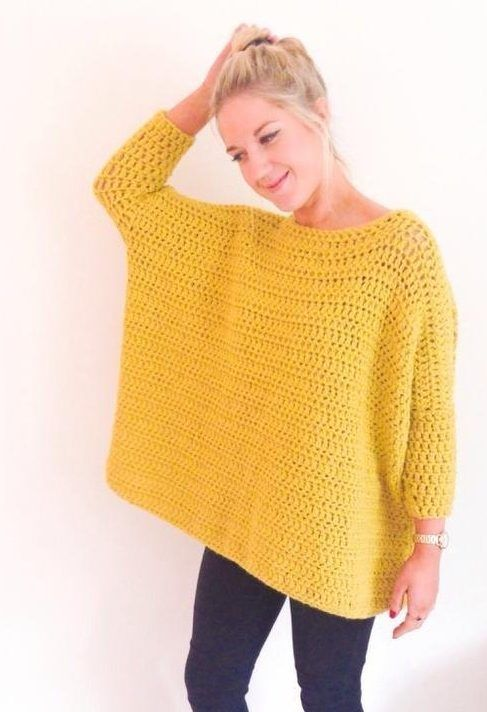 crochet: Oversized Box Jumper by Frank & Olive on the LoveCrochet blog
