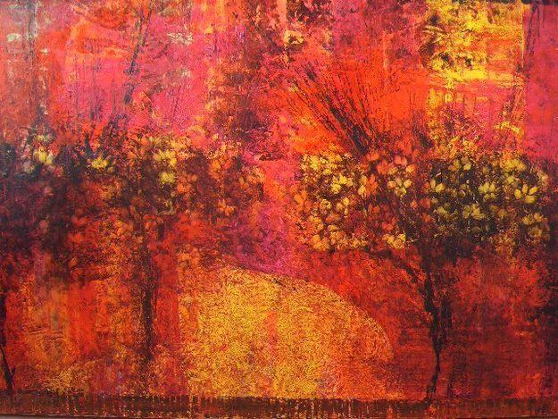 Cuadro abstracto pintado al leo colores c lidos y vivos for Imagenes de cuadros abstractos texturados