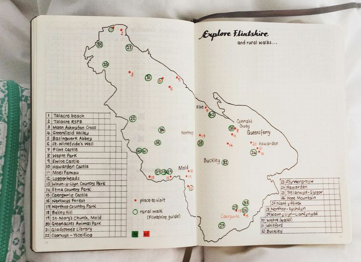 I've wanted to do this for years - draw a map of your county/state in your bullet journal or elsewhere, and mark the interesting places to visit (found on road maps, websites, etc). Also look up local walks on the county/state website. Leave space to tick/fill in when you've visited the place/completed the walk. Try to visit every place of interest in your county/state. Flintshire is a small county in Wales, UK. Can't wait to start exploring! ♡ #exploreflintshire #exploreyourcounty…