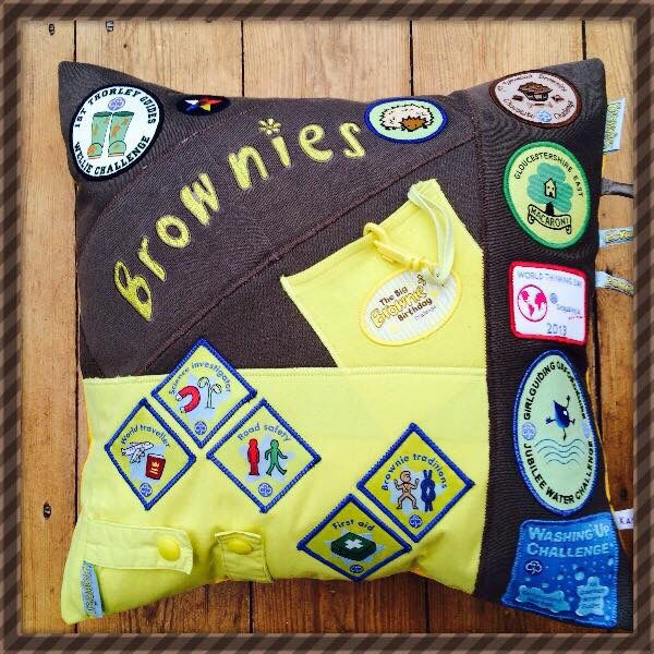 Brownie Keepsake Memory Cushion/Pillow treasure hard earned brownie badges and let me create a special keepsake for you &  your little one to remember always! I have also made cushions from Cubs and beavers uniforms as well as school uniform,  Football TShirts baby grows and even wedding dresses plus many more see more of my work facebook.com/kasieskomfortsuk Keepskae Kushions