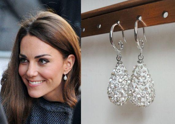 Kate Middleton Hope Egg Crystal Engagement Earrings By