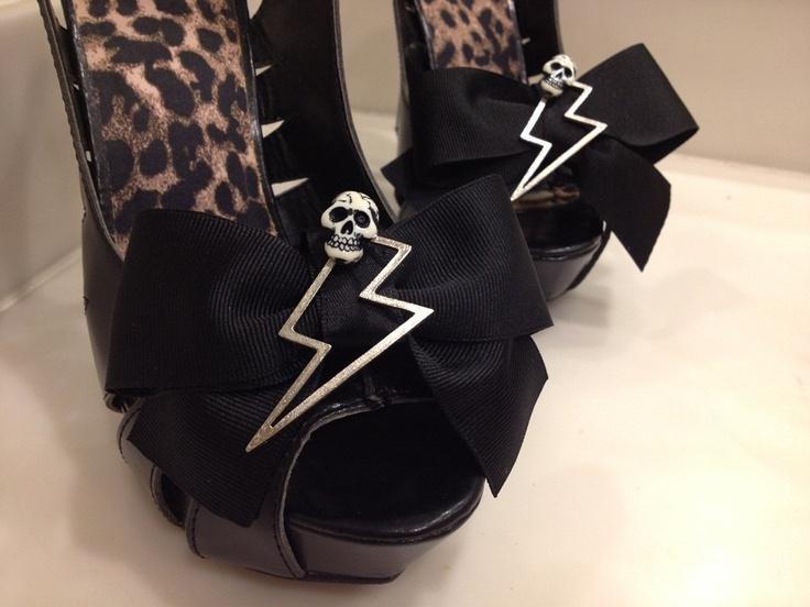 PICK COLOR Skull Lightning Bolt Black Bow Shoe Clips Clip Punk Rockabilly Psychobilly Wedding Scene Accessorie. $10.00, via Etsy.