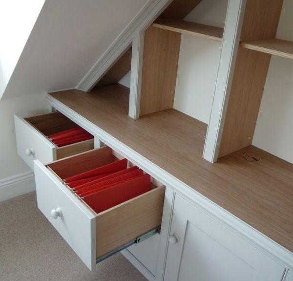 See!  We made filing drawers for this attic bedroom come home office! There's a little under the eaves wardrobe at the end you can see in one of our other pics!