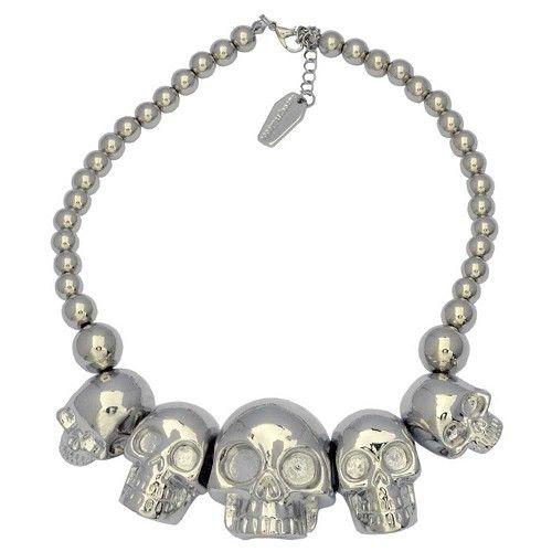 Schedel collectie ketting metallic zilver - Horror Halloween zombie - Kreepsville