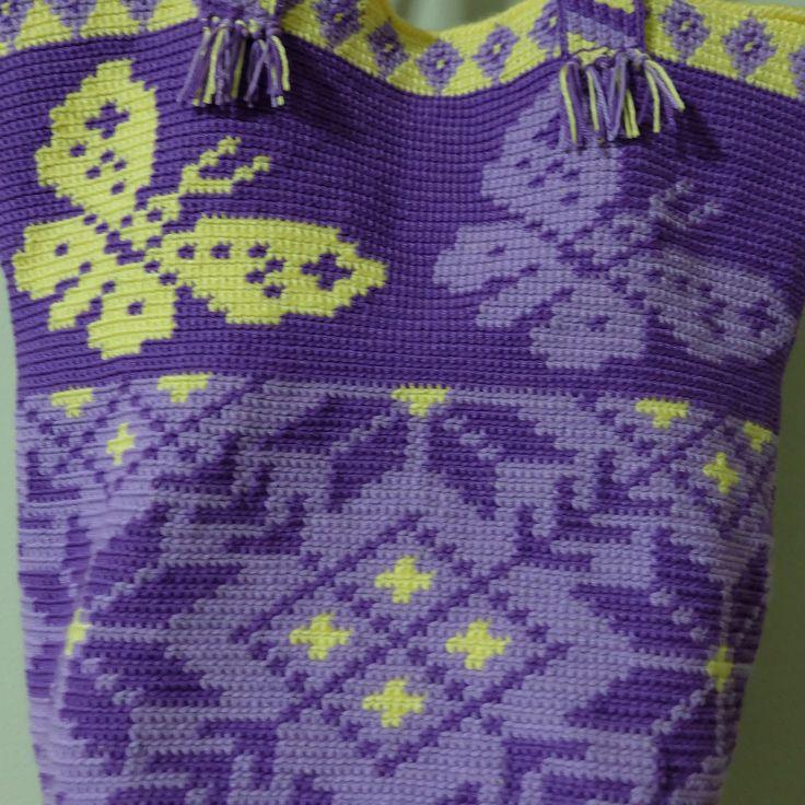 13 отметок «Нравится», 3 комментариев — Summation Visionya (@ma_mam_crochet) в Instagram: «มาโทนม่วงกันบ้างนะวายู รุ่นนี้ขอเรียกชื่อว่า ผีเสื้อกับดอกไม้และลายทาง #crochet #handmade #wayuubag…»