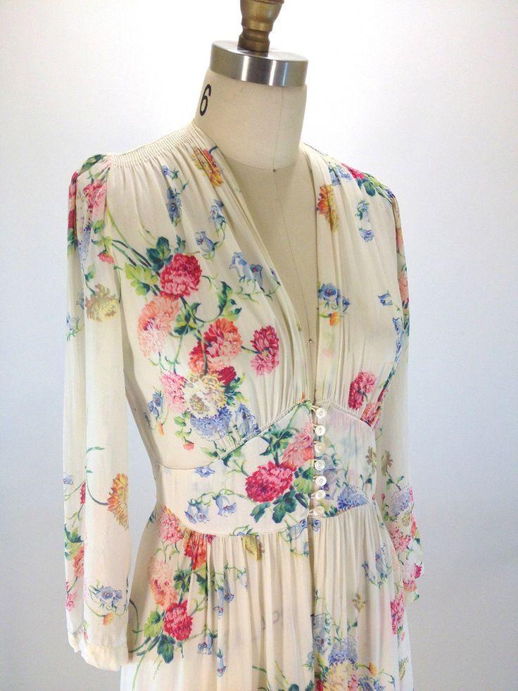 Vintage 1940's Sheer floral maxi dress - Desert Vintage