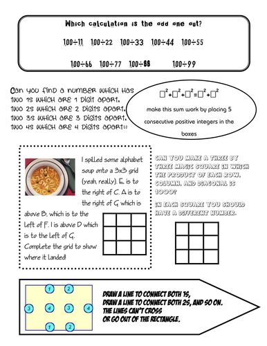 Maths Group Challenges Puzzle Sheets