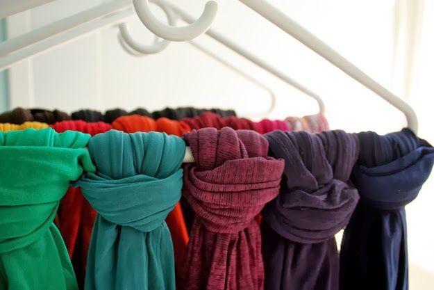 Como guardar lenços, e cachecóis no armário