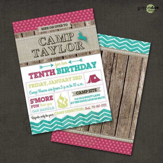 girl camp birthday party invitation, wood, chevron, campfire, deer, tent, printable, custom on Etsy, $14.00
