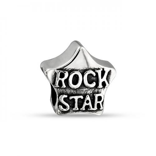 Rock Star Message Charm Bead 925 Sterling Silver Pandora Compatible