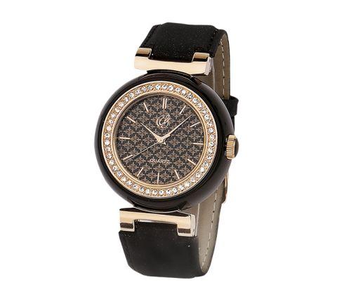 #Reloj con caja en #resina y bisel chapado en #oro #rosa especial I.P.G. y correa sintética. #negro #black #dorado ¡Consíguelo por menos de 50 €!