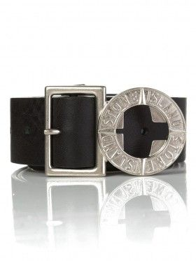 Belt up this season! Stone Island Black Leather Compass Belt