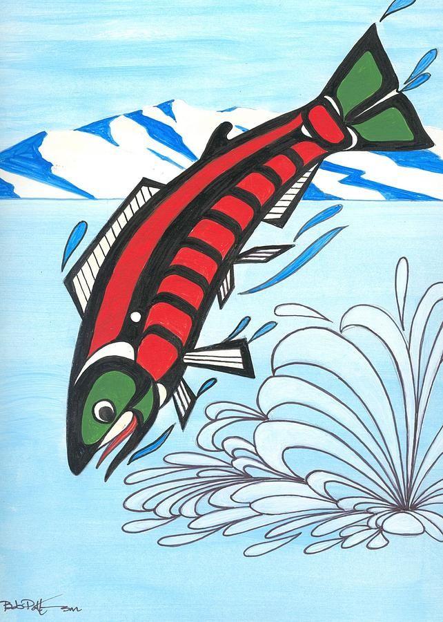 Jumping Sockeye Salmon Painting - Jumping Sockeye Salmon Fine Art Print