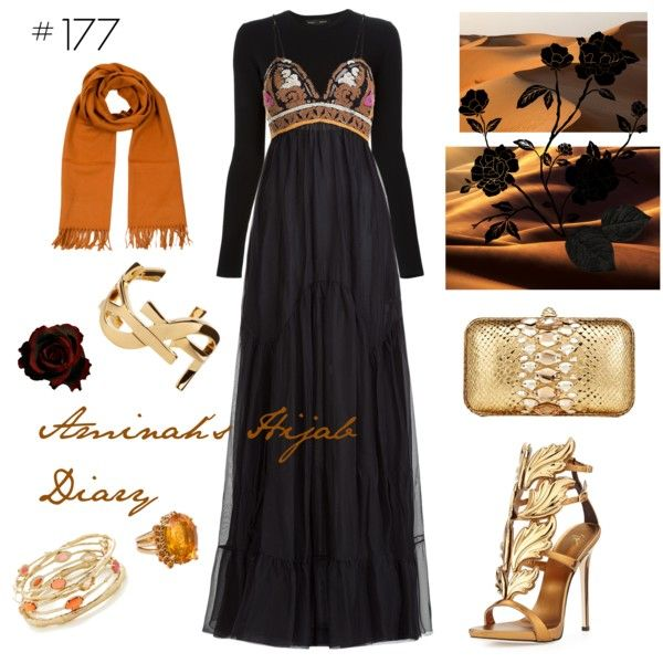 Aminah´s Hijab Diary #hijab #muslimah #modest #fashion #style #look #outfit #black #gold #brown #luxury #ootd