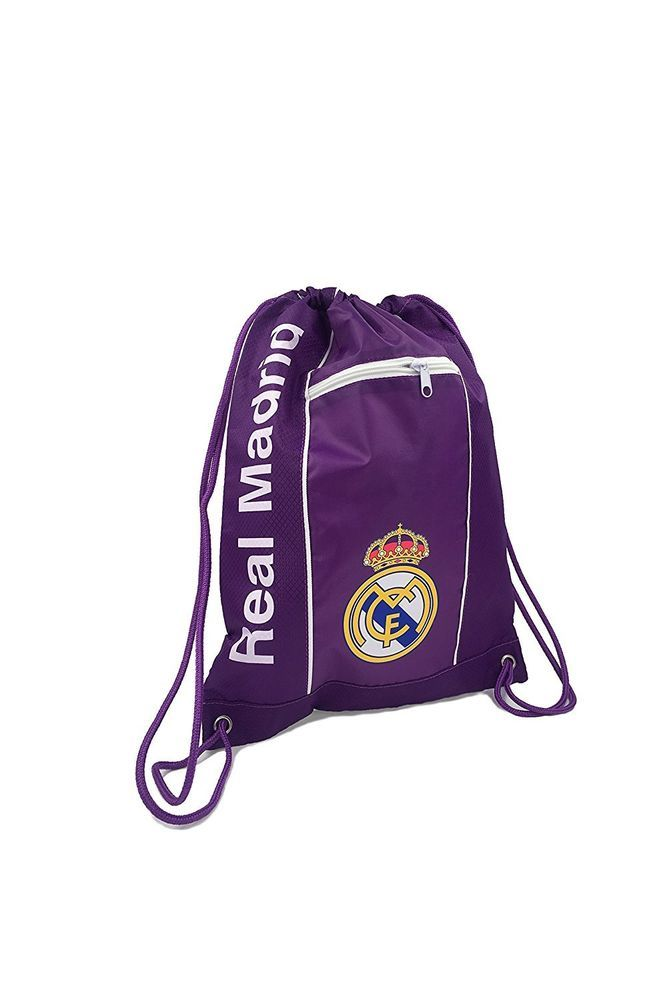 Real Madrid Cinch Bag Sack Soccer Book  Backpack Authentic Official white Purple #Icon #RealMadrid