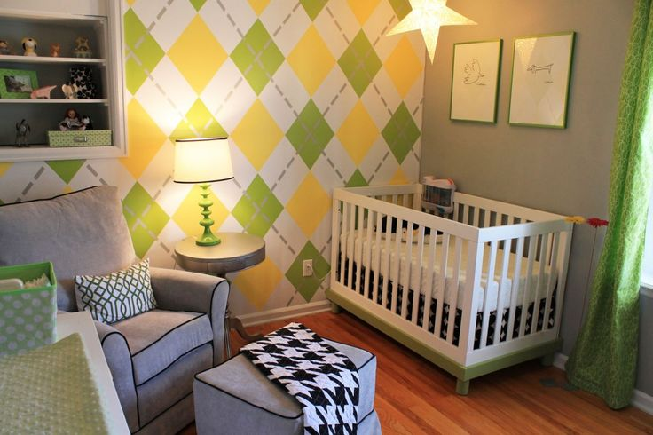 Argyle accent wall in this #babyboy nurseryArgyle Wall, Boys Nurseries,  Cot, Wall Treatments, Baby Room, Cribs, Boys Room, Nurseries Ideas, Accent Wall