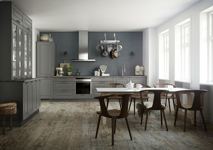 "Ponte is a new approach to design and style which Kvik has chosen to call ""The urban country style"". Smooth steel handles helps completing the look of the grey doors and related dark ash worktop. To achieve the urban look with Ponte, Kvik recommends stainless steel appliances."