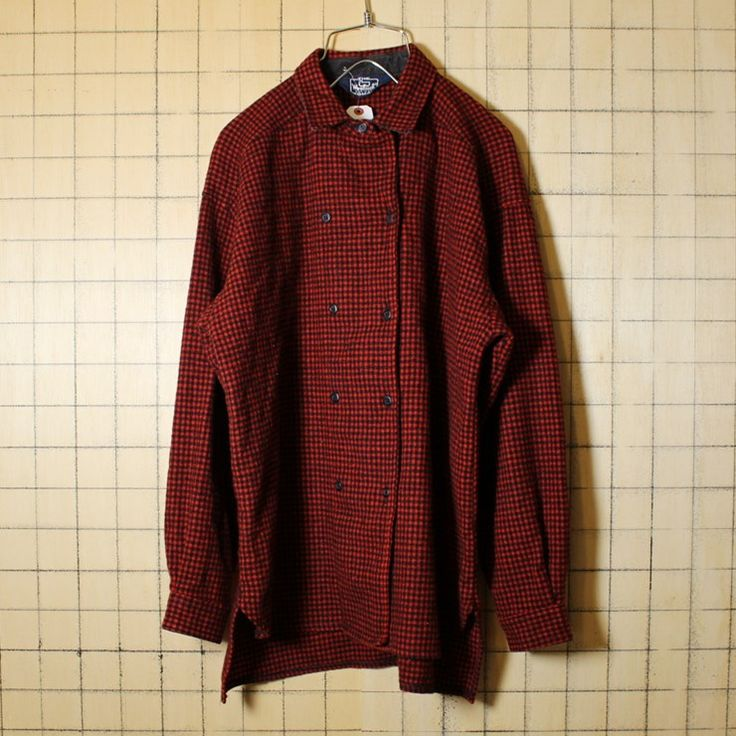 Woolrich ウールリッチ USA製 80s 古着 レッド チェック ウールシャツ レディースXL相当 メンズM相当