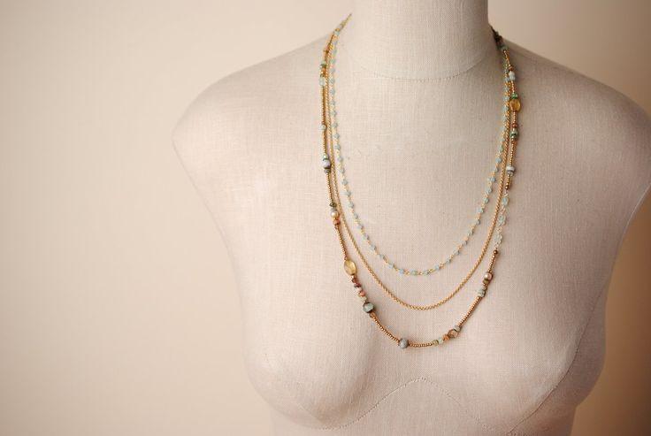 Unique Handmade Gemstone Chalcedony Gold Multi strand Necklace - Har003N