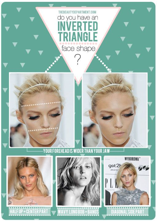 According to The Beauty Dept I have an inverted triangle face shape, but I don't think any of these looks are good for me. What's a girl to do?