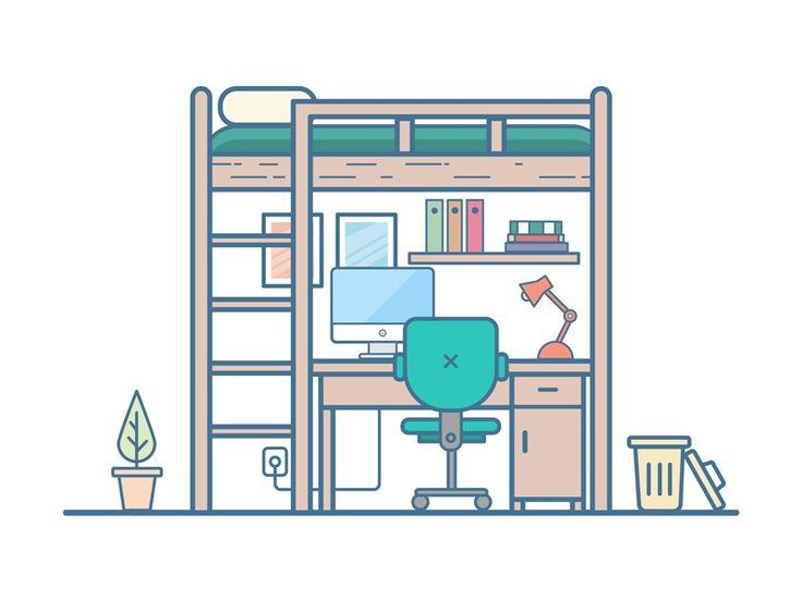 Dormitory by Huazi #Design Popular #Dribbble #shots