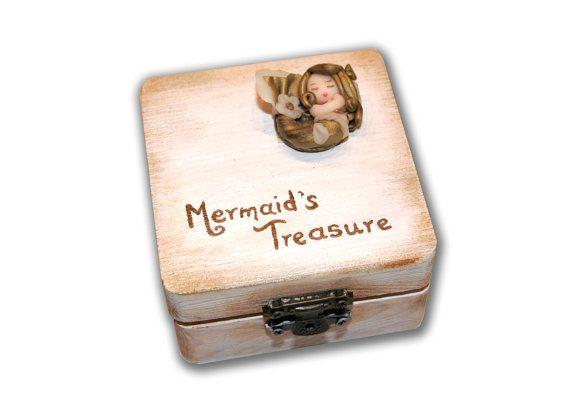 Mermaid treasure boxSleeping mermaid on a by DreamBigHandmade