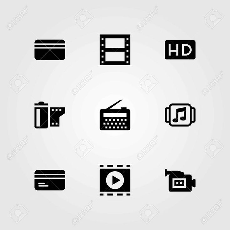 Technology vector icons set. film roll, music player and movie player Illustration , #Ad, #set, #film, #icons, #Technology,