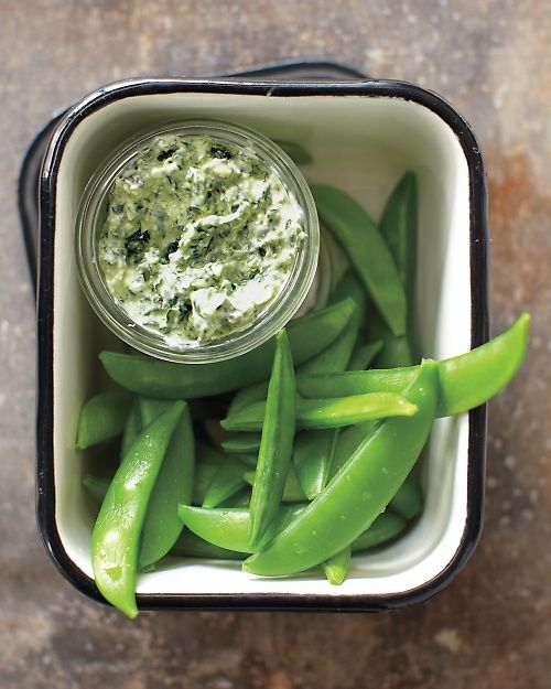 Kale Dip with Snap Peas - Whole Living Eat WellOlive Oil, Snap Peas, Fun Recipe, Healthy Snacks, Whole Living, Food, Kale Dips, Cottages Chees, Drinks Recipe