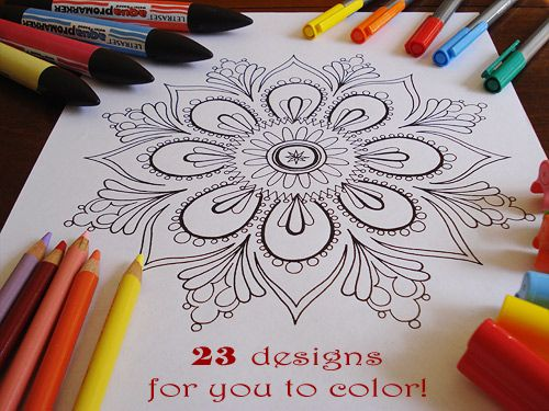 "Free printable Mandala pages for ""grown-up"" coloring. I LOVE to color! :)"