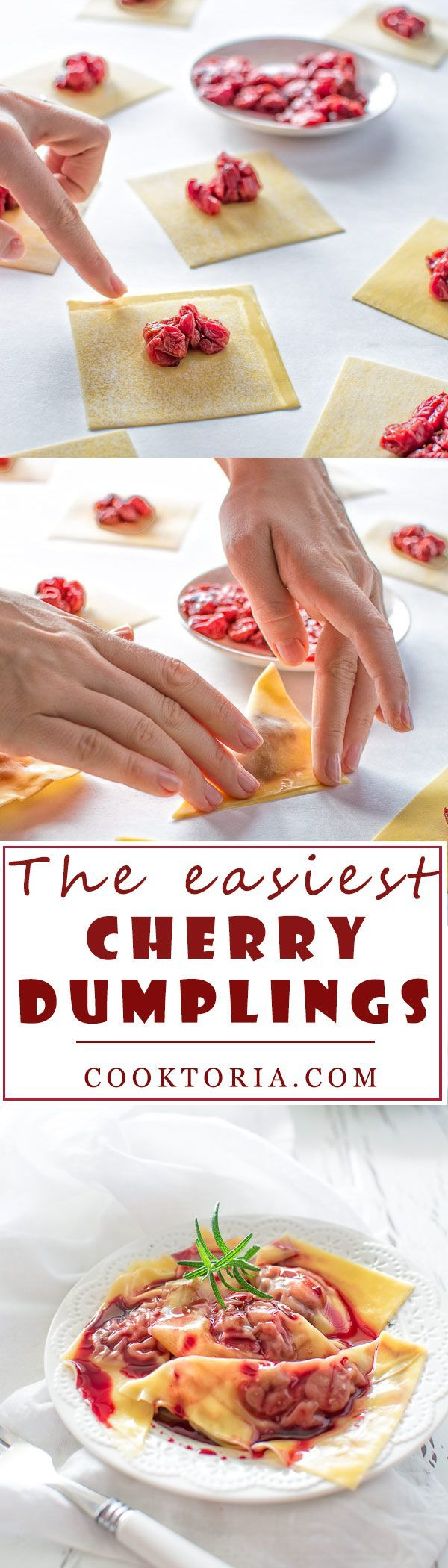 The easiest cherry dumplings made with wonton wrappers, frozen cherries and a special cherry sauce. ❤️ COOKTORIA.COM