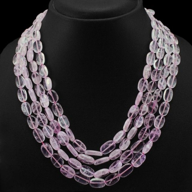 Genuine 4 Line Pink Rose Quartz Beads Necklace