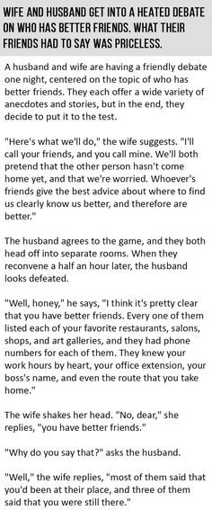 Wife Challenges Husband That She Has Better Friends. The Result Was GOLD.