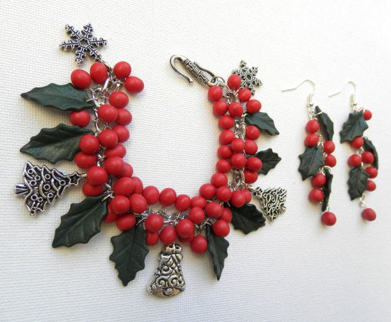 Christmas jewelry  Holly leaves and berries  by insoujewelry, $58.00