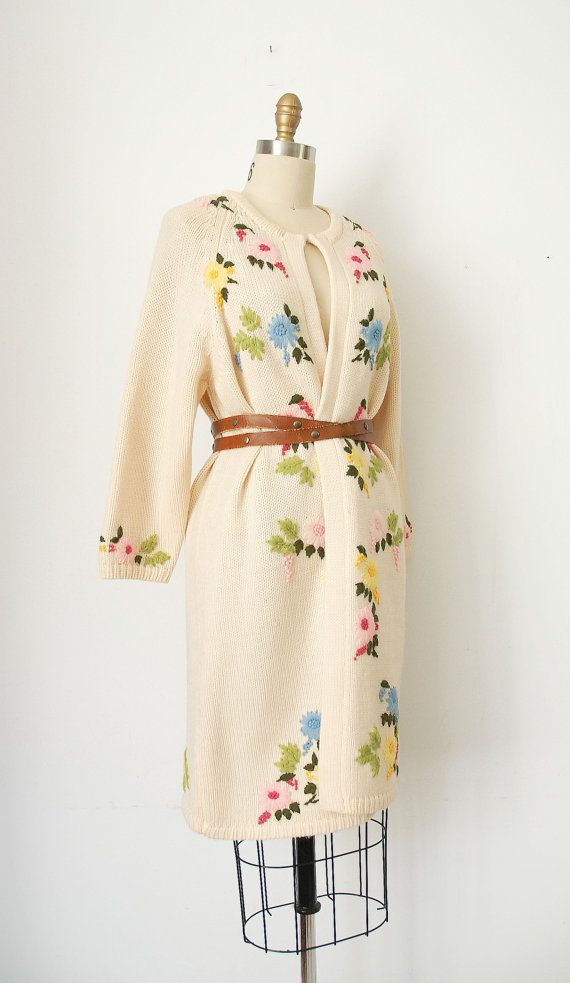 vintage 60's floral cardigan coat $30 from wildfellhallvintage on Etsy