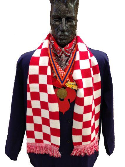 Sjaal Brabant Rood wit geblokte sjaal Brabant € 11,-