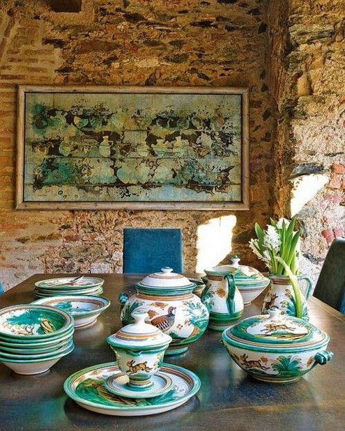 Table Manner At Rustic House Interior Design Within A Century Oil Mill In Extramadura Photo