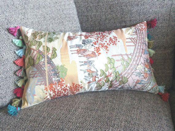 Japanese Obi Pillow  with Mini Tassels by uKimonoDecor on Etsy