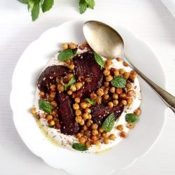 Delicious and healthy appetizer or light meal featuring roasted beetroots, crisp and spicy chickpeas, Greek yogurt and harissa