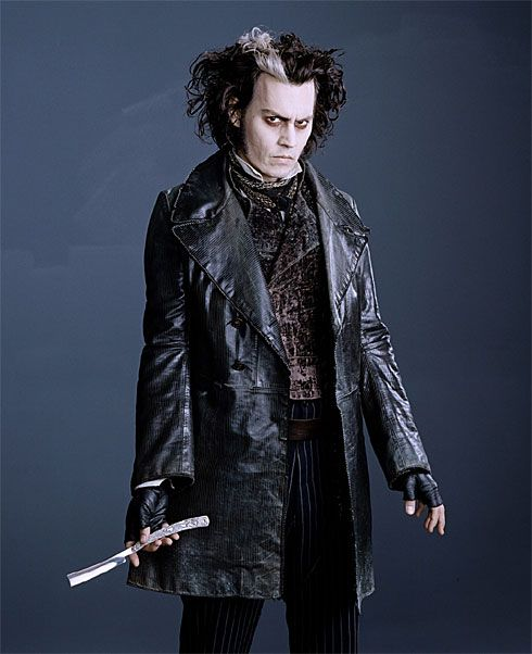 """Johnny Depp wearing a costume by Colleen Atwood whilst portraying Sweeney Todd.    Character:Depp stars as the bloodthirsty barber, who returns to London after being exiled to Australia for a crime he didn't commit.  Atwood's style notes:""""He comes off a boat, crusted with salt. He's been through a terrifying time in prison, and he's hardened to life."""""""