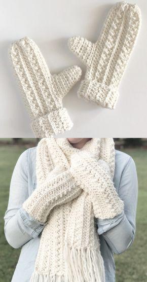Chapéu, lenço e luvas de crochê para iniciantes