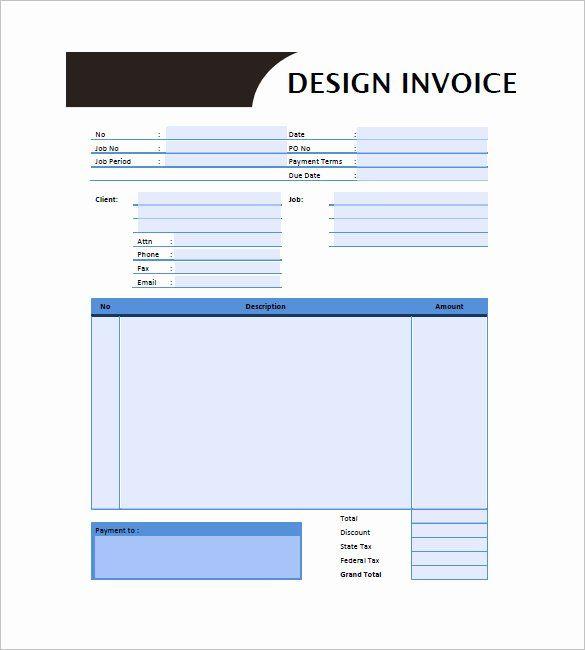 Graphic Design Invoice Template Fresh Graphic Design Invoice Template 14 Free Word Excel Invoice Template Invoice Template Word Invoice Design