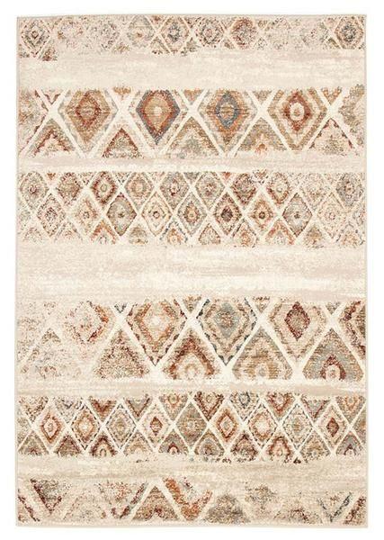 Add a traditional look in earthy colours with the Caliente 320 Rust Bone Multi Coloured Diamond Patterned Traditional Rug