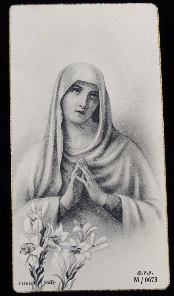 Mid-Century Virgin Mary Holy Cards  Printed in Italy  Vintage Paper Ephemera