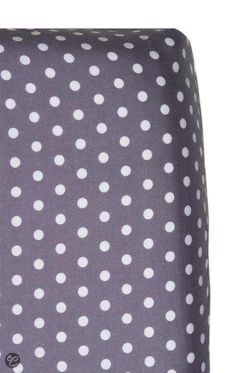 Cottonbaby - Hoeslakentje Met Stip 60x120 cm - Wit / Antraciet
