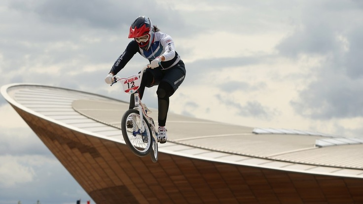 Team GBs Shanaze Reade during testing for the Olympic BMX competition