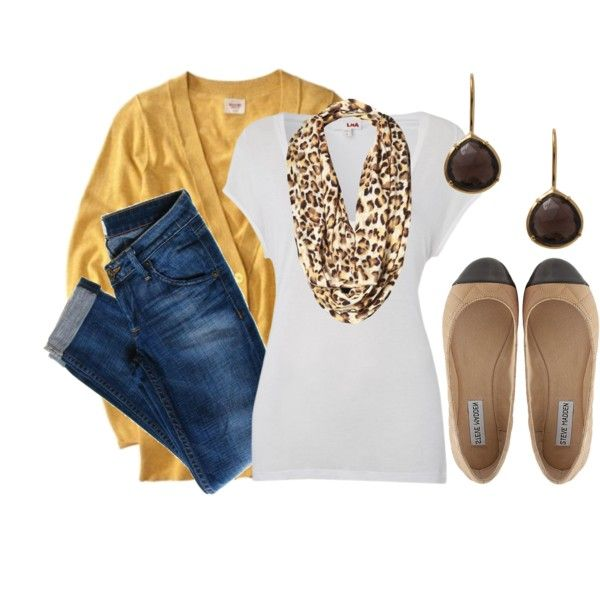 Mustard Meow 2 - Polyvore: Jeans And White Tees, Mustard Sweater, Fall Outfits, Mustard Cardigan, Animal Prints, Leopards Prints, Mustard Meow, Flats, Mustard Yellow
